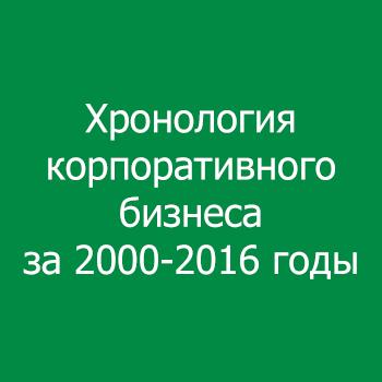 Хронология корпоративного бизнеса за 2000-2016 годы